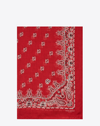 SAINT LAURENT Rectangular Scarf D Bandana Stole in Red and White Paisley Printed Cashmere and Silk Étamine f