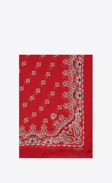 SAINT LAURENT Rectangular Scarf Woman Bandana Stole in Red and White Paisley Printed Cashmere and Silk Étamine a_V4