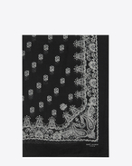 SAINT LAURENT Rectangular Scarf D Bandana Stole in Black and White Paisley Printed Cashmere and Silk Étamine f