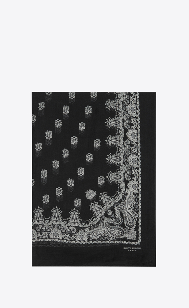 SAINT LAURENT Rectangular Scarf D Bandana Stole in Black and White Paisley Printed Cashmere and Silk Étamine a_V4
