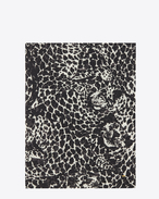 SAINT LAURENT Rectangular Scarf D ANIMALIER Stole in Black and Off White Leopard Printed Wool Étamine f