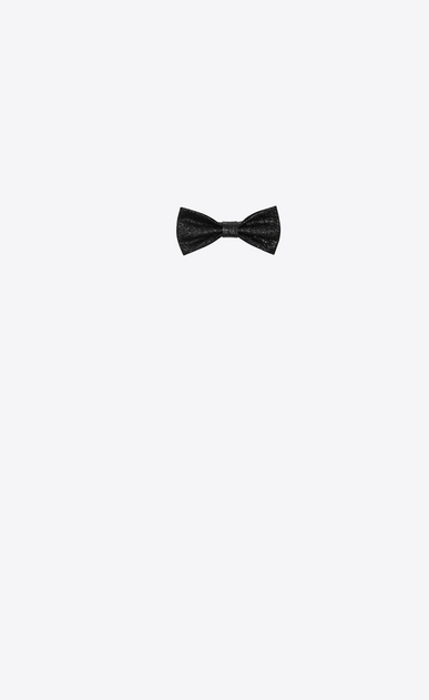SAINT LAURENT Lavallière Woman Bow Tie in Black Cracked Leather a_V4