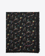 SAINT LAURENT Rectangular Scarf D FLEURS Large Scarf in Black and Multicolor Prairie Flower Printed Wool Étamine f