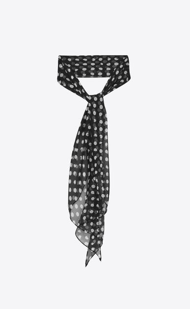 SAINT LAURENT Lavallière D POIS Lavaliere in Black and Ivory Stamped Polka Dot Star Print a_V4