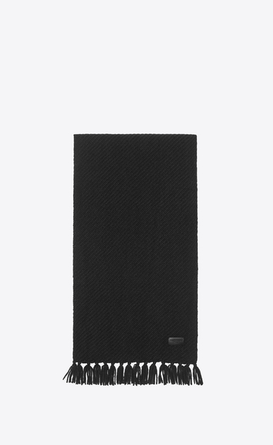 SAINT LAURENT Rectangular Scarf Woman Scarf in Black Cashmere Jacquard a_V4