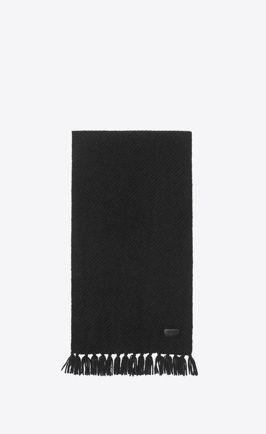 SAINT LAURENT Foulard Rettangolare D Sciarpa nera in jacquard di cashmere a_V4