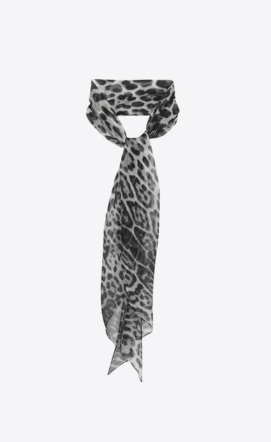 SAINT LAURENT Lavallière Woman Leopard print lavallière in gray and black silk muslin a_V4