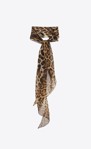 SAINT LAURENT Lavallière Woman Leopard print lavallière in beige and black silk muslin a_V4