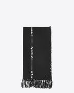 SAINT LAURENT Rectangular Scarf D Stole with braiding and medals in black wool cloth f