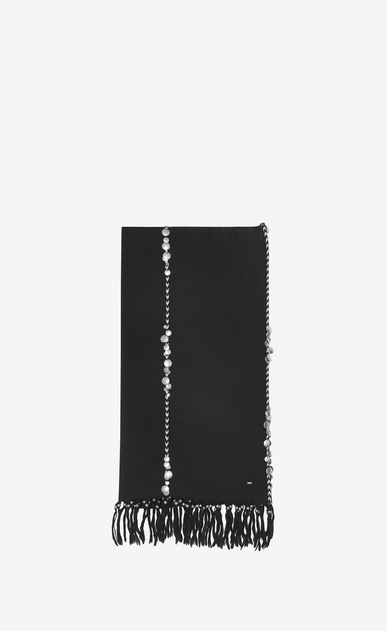 SAINT LAURENT Rectangular Scarf Woman Stole with braiding and medals in black wool cloth a_V4