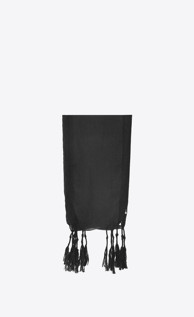 SAINT LAURENT Rectangular Scarf Woman Long stole in black gauze a_V4