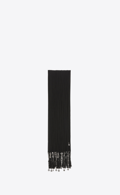 SAINT LAURENT Rectangular Scarf Woman pleated stole with berber fringes in black crepe de chine a_V4