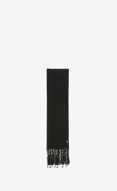 SAINT LAURENT Rectangles Femme etole plissée à franges berbères en crêpe de chine noire a_V4