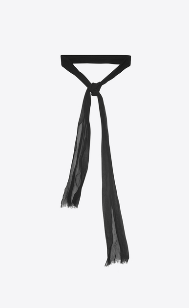 SAINT LAURENT Lavallière D Ascot scarf in black silk shantung a_V4