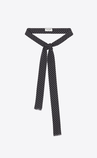 SAINT LAURENT Lavallière Woman Polka dot ascot scarf in black and ivory Georgette silk a_V4