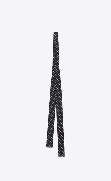 SAINT LAURENT Lavallière Damen Ascot-Schal aus schwarzem und elfenbeinfarbenem Seidengeorgette mit Tupfenmuster b_V4