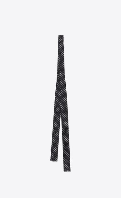 SAINT LAURENT ボウ レディース 水玉模様のアスコットスカーフ(ブラックとアイボリー/ジョーゼットシルク) b_V4