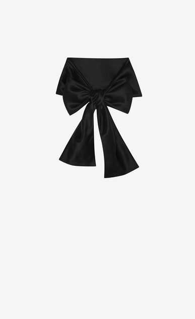 SAINT LAURENT Lavallière Woman Lavallière in black silk georgette a_V4