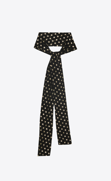 SAINT LAURENT Lavallière Woman narrow scarf in black silk with lamé polka dots a_V4
