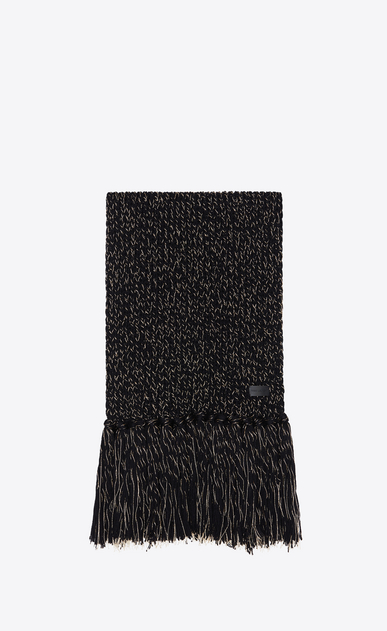 SAINT LAURENT Rectangular Scarf Woman Fringed scarf in a black and gold Lurex knit a_V4