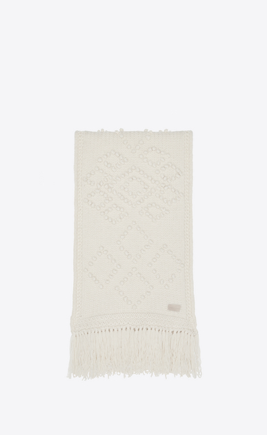 SAINT LAURENT Rectangular Scarf Woman Fringed scarf in ivory a_V4