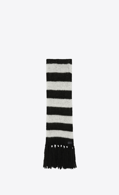 SAINT LAURENT Rectangular Scarf Woman Striped scarf in a loose black and ivory wool knit a_V4