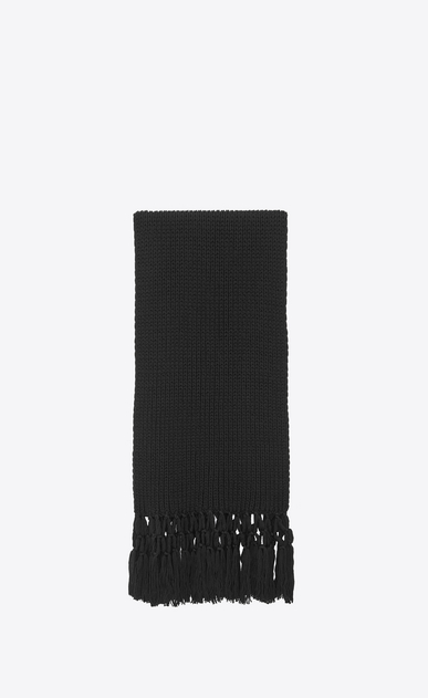SAINT LAURENT Rectangular Scarf Woman Scarf in black wool knit and macramé a_V4