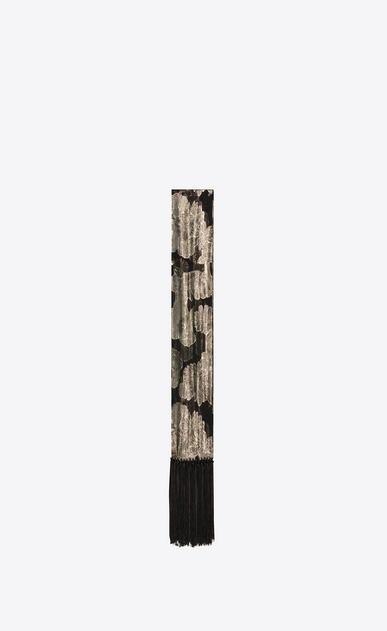 SAINT LAURENT Rectangular Scarf Woman Fringed scarf in a floral black and gold lamé jacquard a_V4