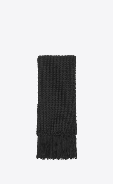 SAINT LAURENT Rectangular Scarf Woman Fringed scarf in a loose black wool knit a_V4