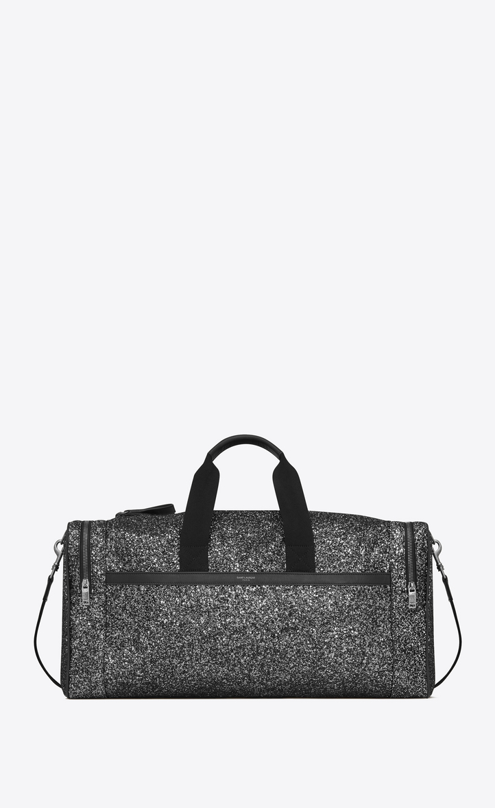 SAINT LAURENT CITY GYM BAG IN BLACK METALLIC GLITTER AND LEATHER