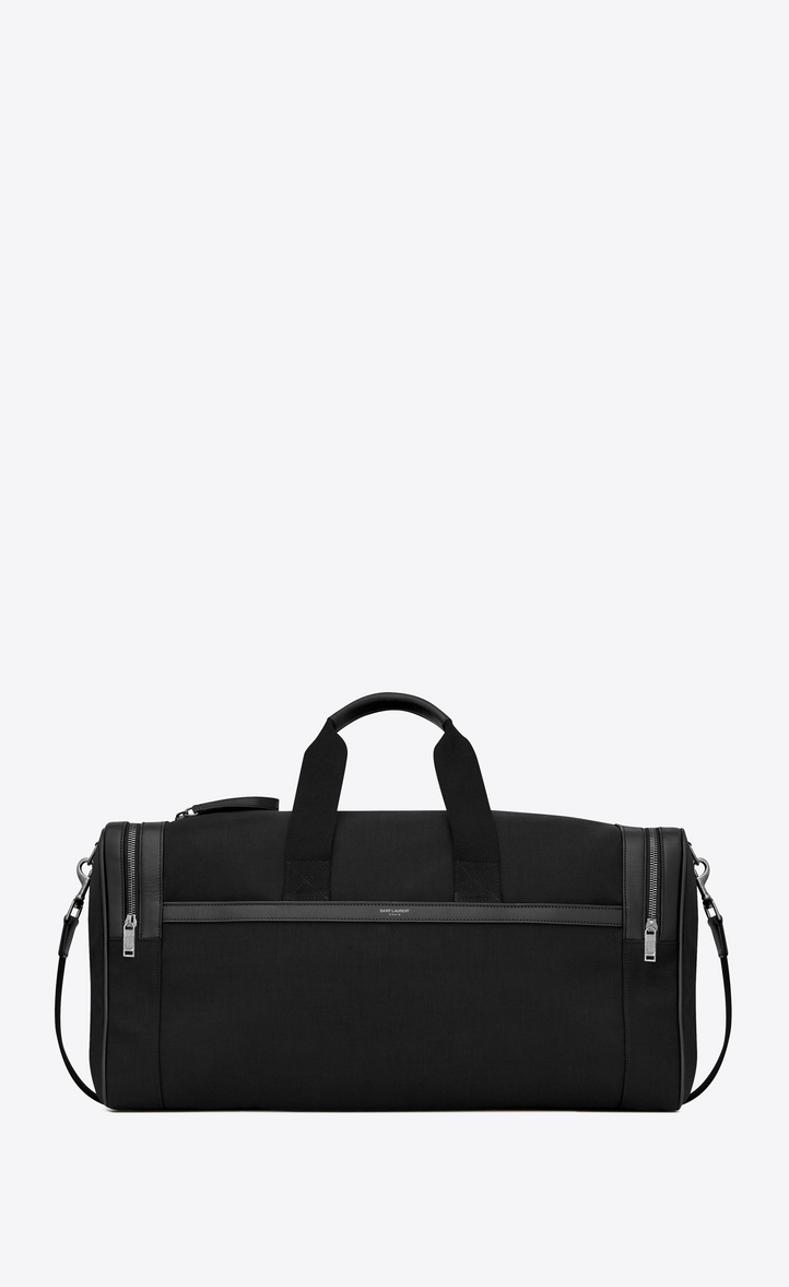 SAINT LAURENT CITY GYM BAG IN BLACK CANVAS AND LEATHER
