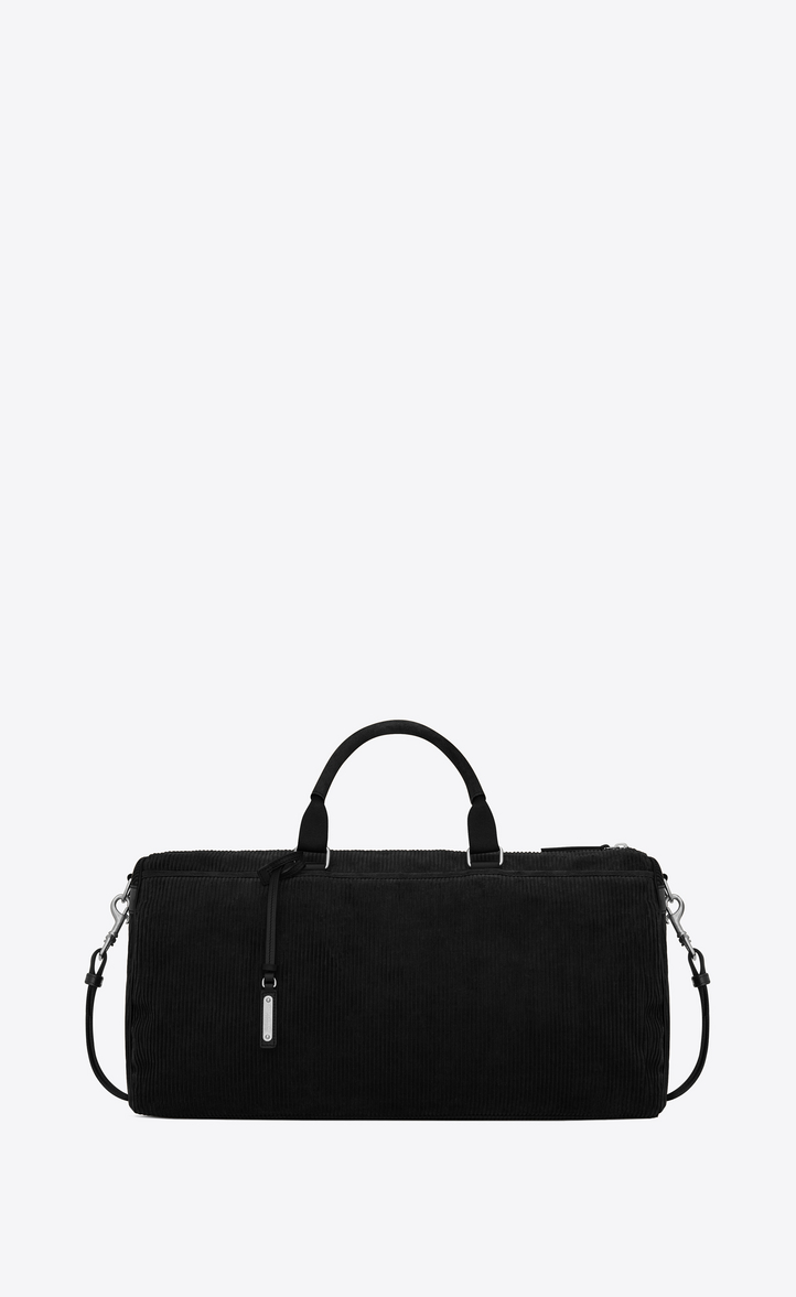 SAINT LAURENT ANDY DUFFLE BAG IN BLACK CORDUROY AND LEATHER