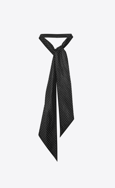 SAINT LAURENT ボウ レディース Studded tie in black leather a_V4