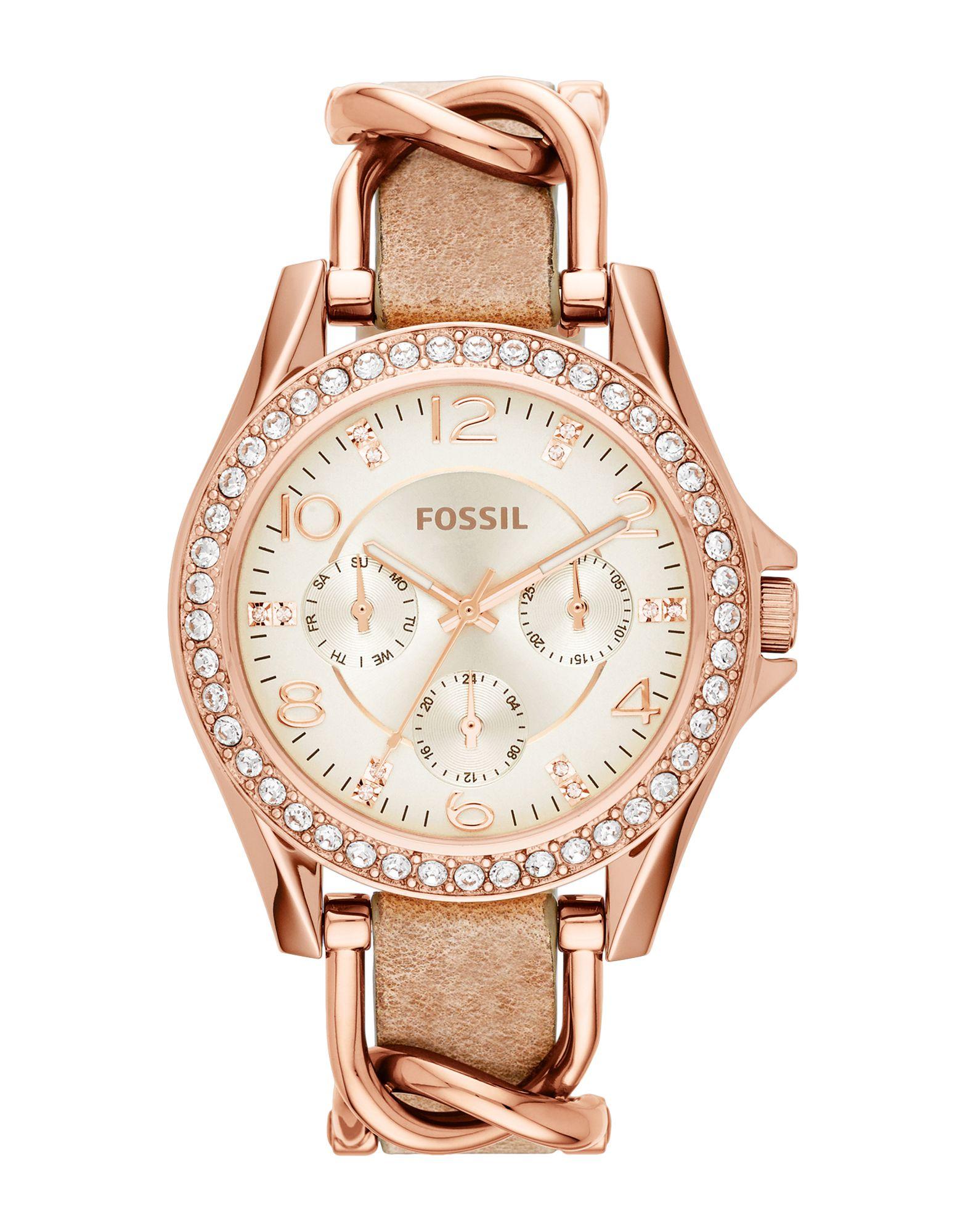 《送料無料》FOSSIL レディース 腕時計 カッパー ステンレススチール / 革 / クリスタル RILEY