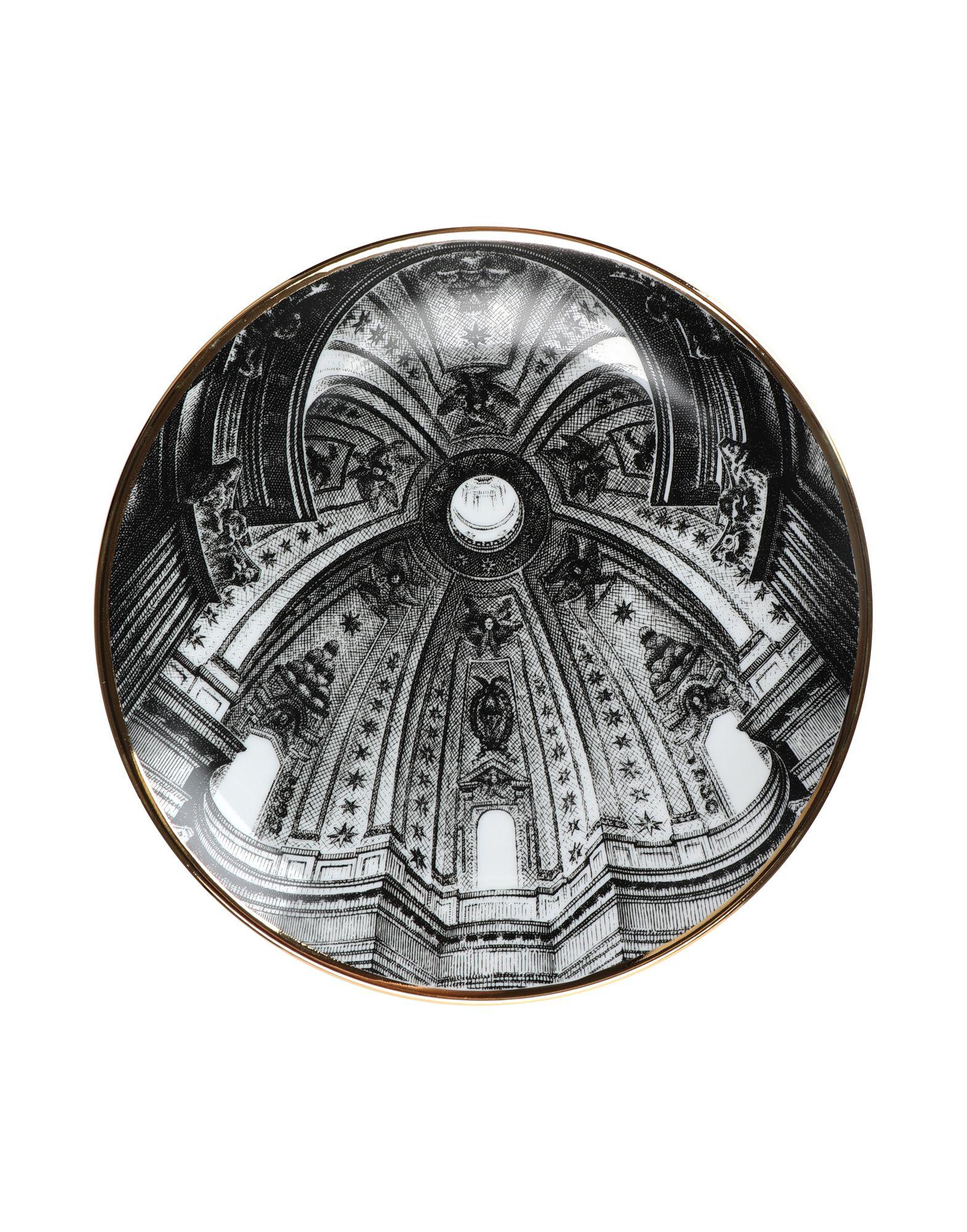 《期間限定セール開催中!》FORNASETTI Unisex オーナメンタルプレート ブラック セラミック Cupola S. Ivo Sapienza (Roma)