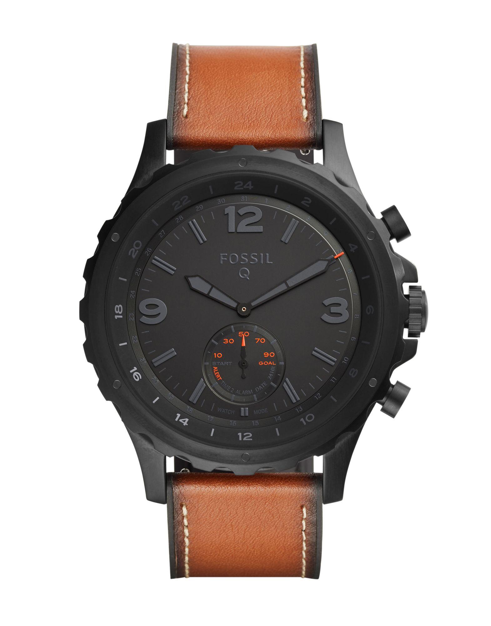 《送料無料》FOSSIL Q メンズ スマートウォッチ ブラック ステンレススチール / 革 Q NATE Hybrid Smartwatch