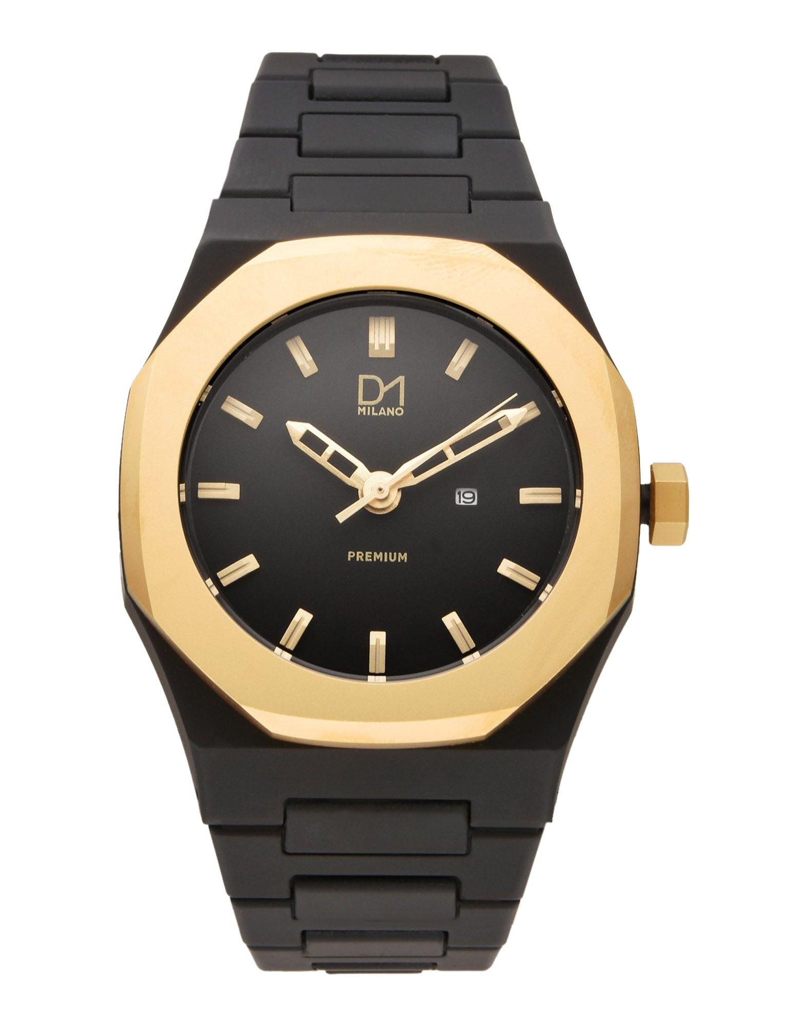 《送料無料》D1 MILANO メンズ 腕時計 ブラック 金属 / ポリカーボネート A-PR02 Premium Watch Black with Gold Bezel