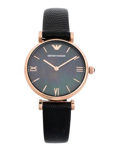EMPORIO ARMANI Damen Armbanduhr Schwarz Edelstahl Leder