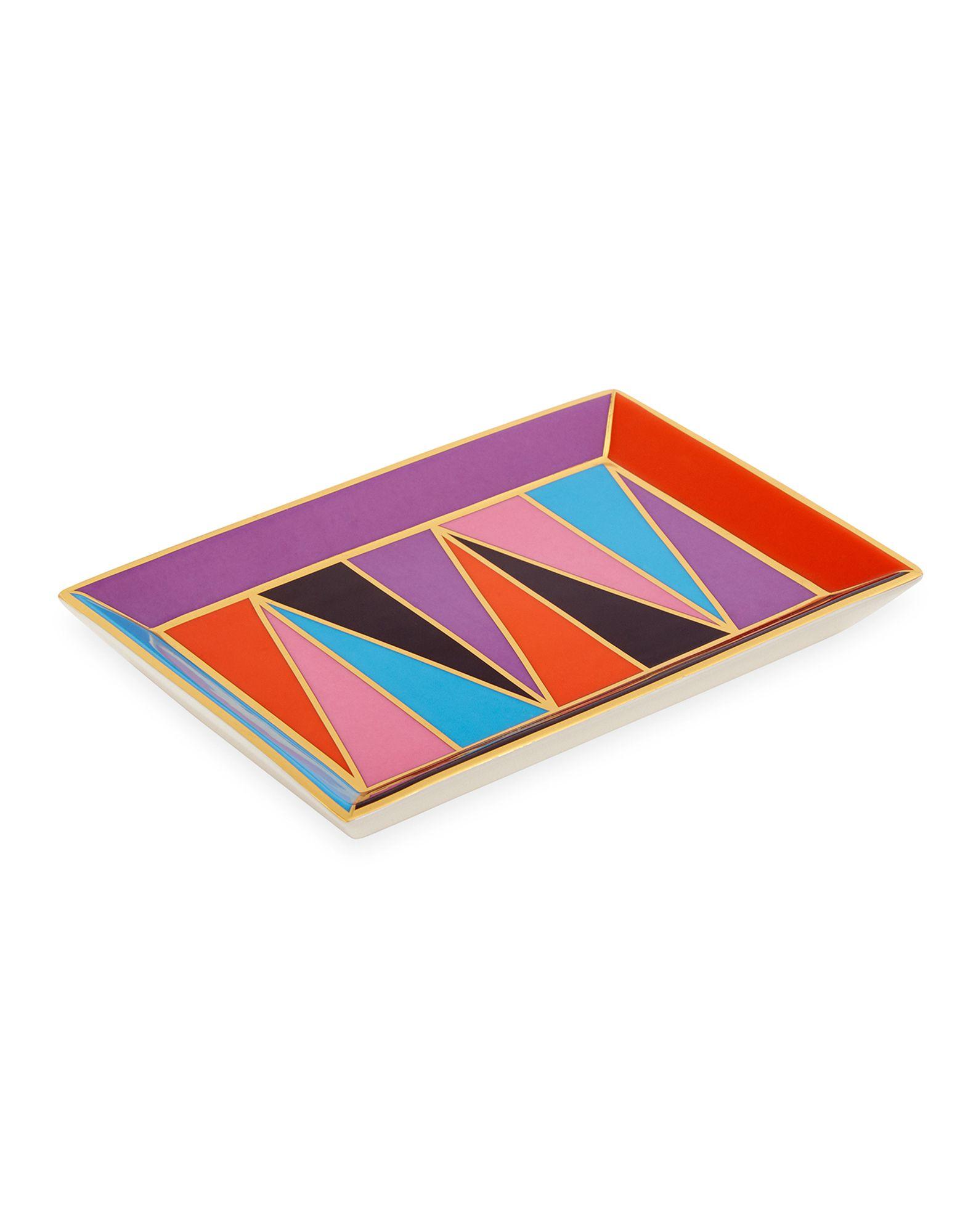 《送料無料》JONATHAN ADLER Unisex 雑貨 ターコイズブルー セラミック 100% Harlequin Rectangle Tray