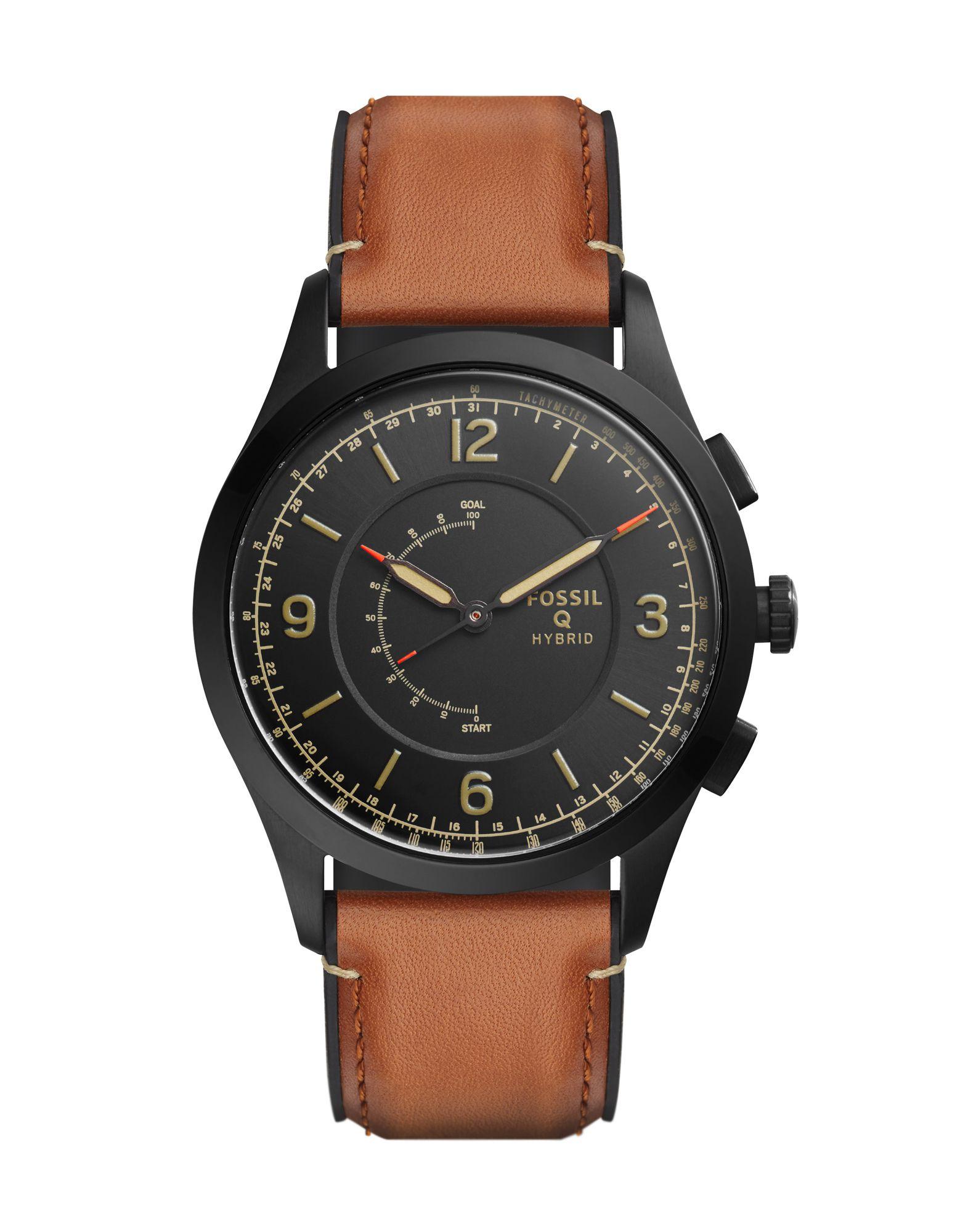 《送料無料》FOSSIL Q メンズ スマートウォッチ ブラック ステンレススチール / 革 Q Activist Hybrid Smartwatch