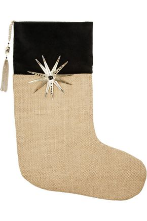 ROSANTICA Embellished velvet and jute stocking