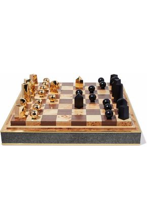 AERIN Shagreen, zinc, and wood chess set