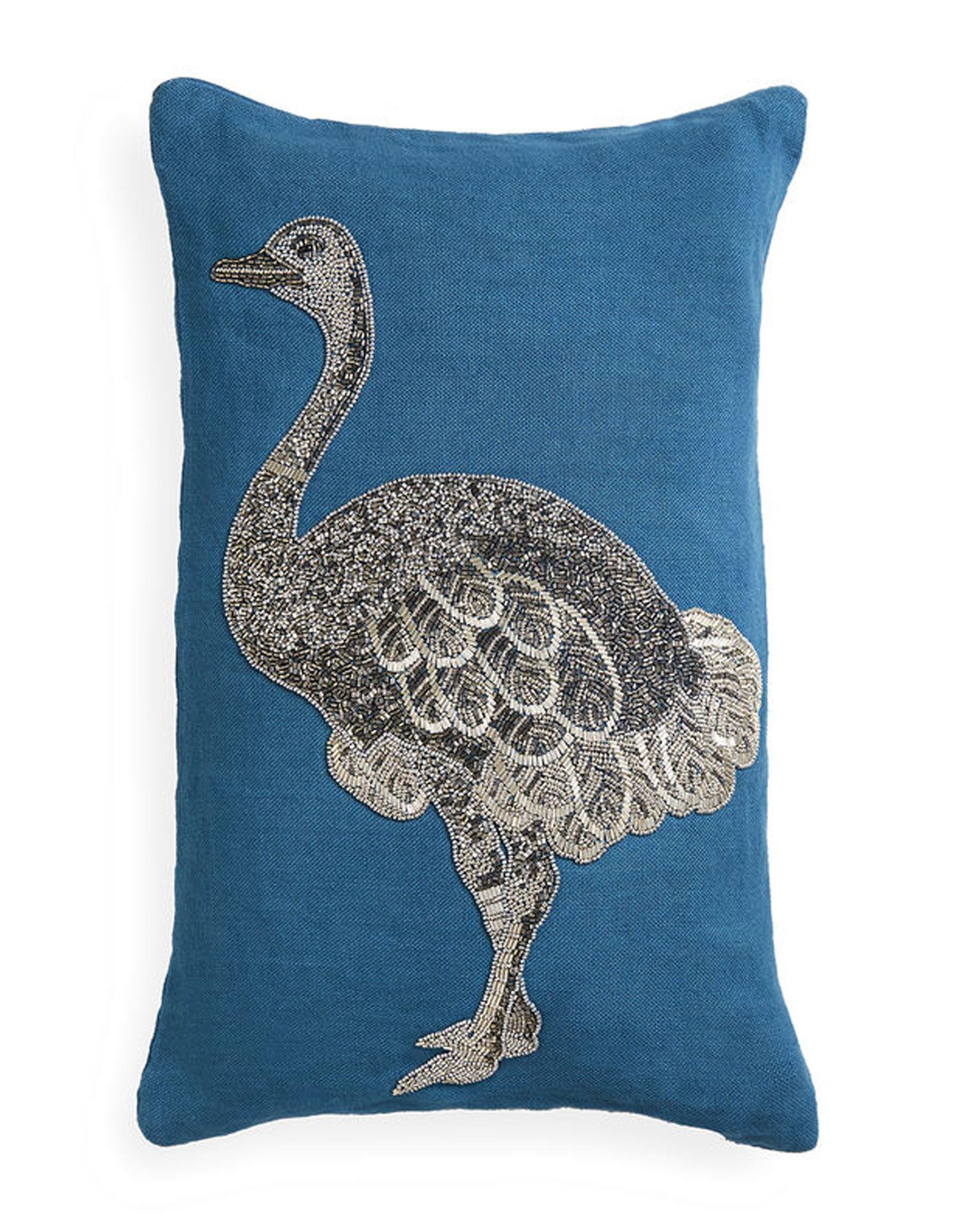《送料無料》JONATHAN ADLER Unisex クッション ディープジェード 麻 100% Zoology Ostrich Throw Pillow