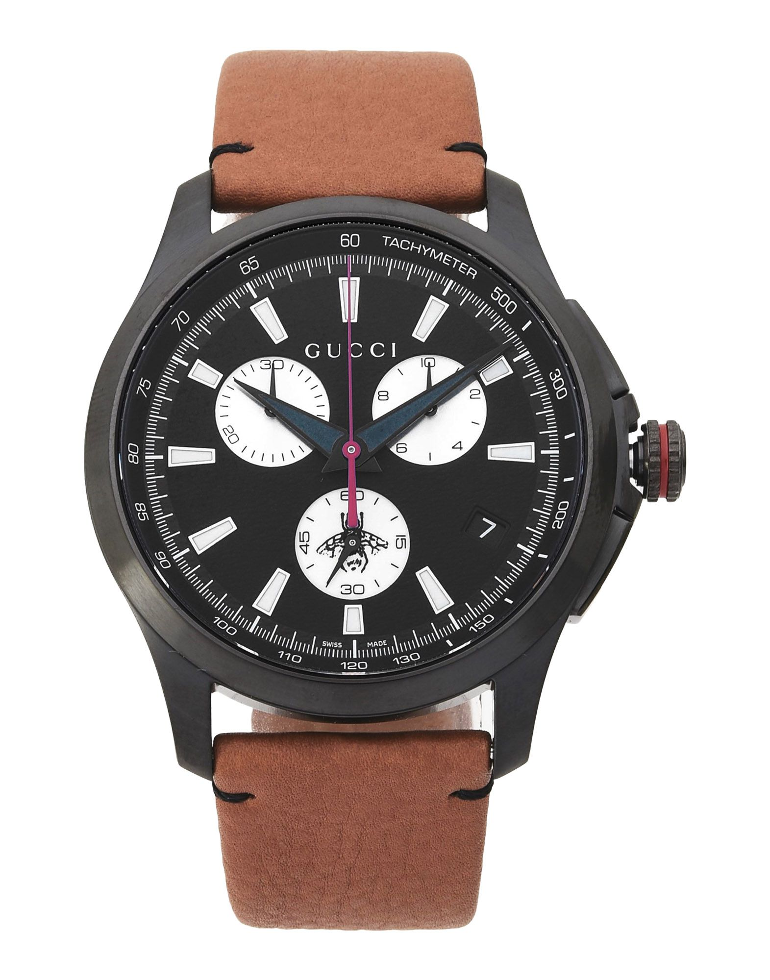 GUCCI Wrist watches. logo, adjustable buckle fastening, case material: stainless steel, strap material: leather, contains non-textile parts of animal origin. Stainless Steel, Calfskin