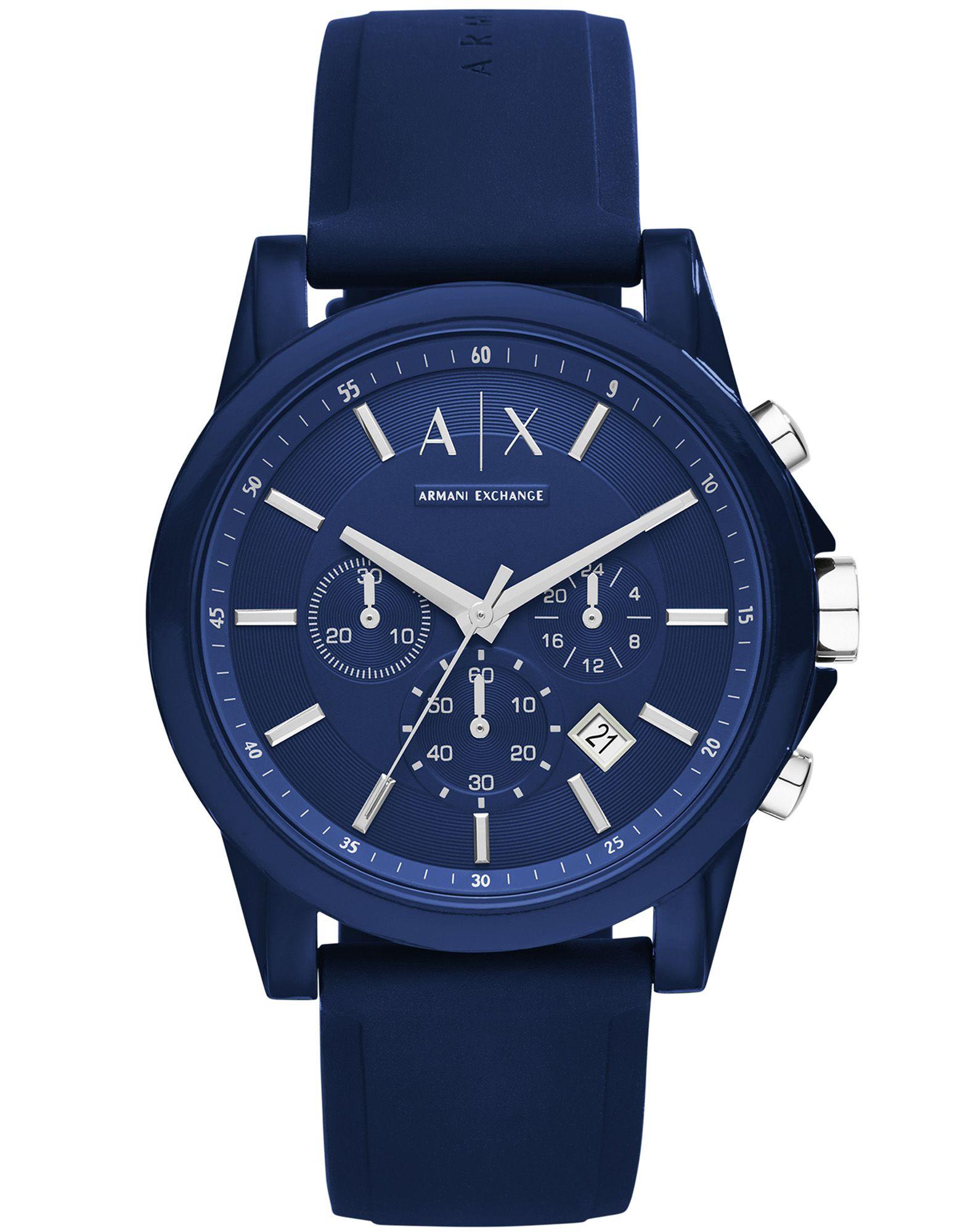 《送料無料》ARMANI EXCHANGE メンズ 腕時計 ダークブルー ナイロン / シリコン