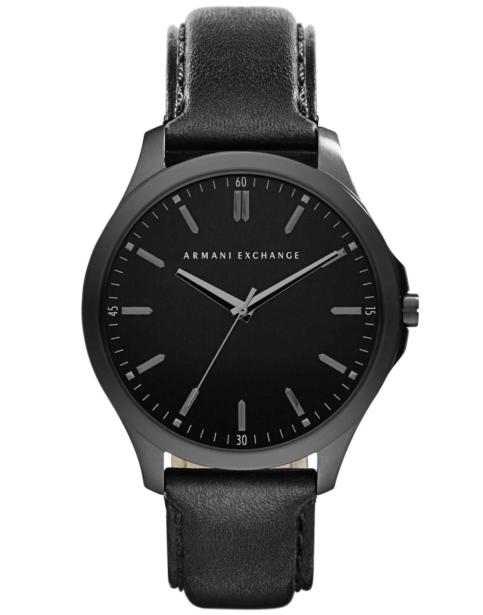 《送料無料》ARMANI EXCHANGE メンズ 腕時計 ブラック ステンレススチール / 革