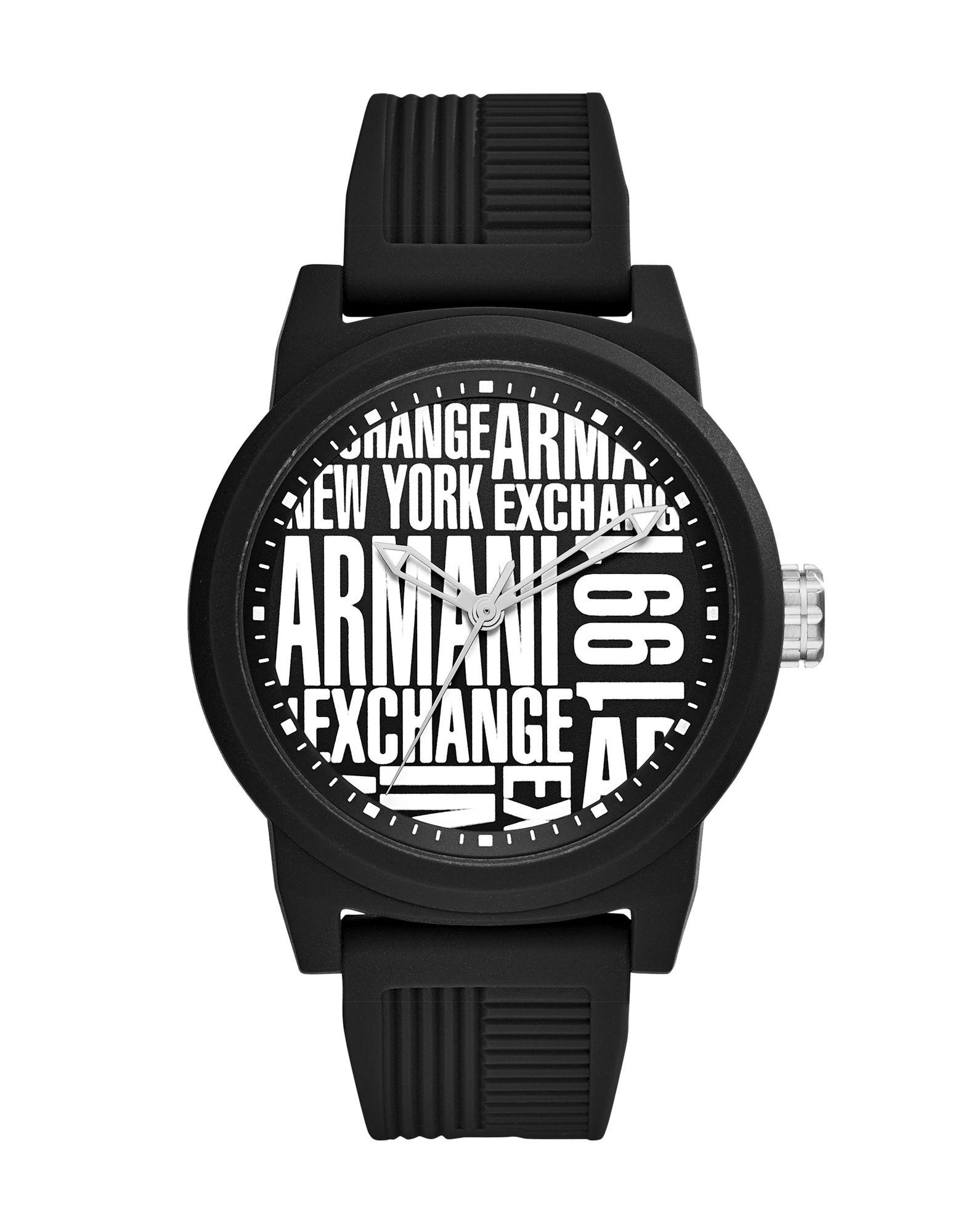 ARMANI EXCHANGE メンズ 腕時計 ブラック シリコン
