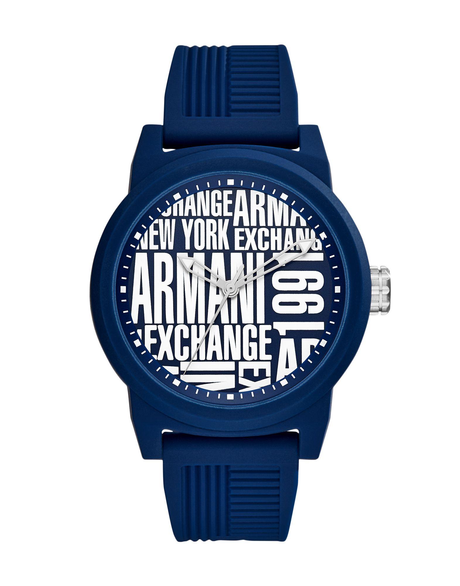 《送料無料》ARMANI EXCHANGE メンズ 腕時計 ダークブルー シリコン