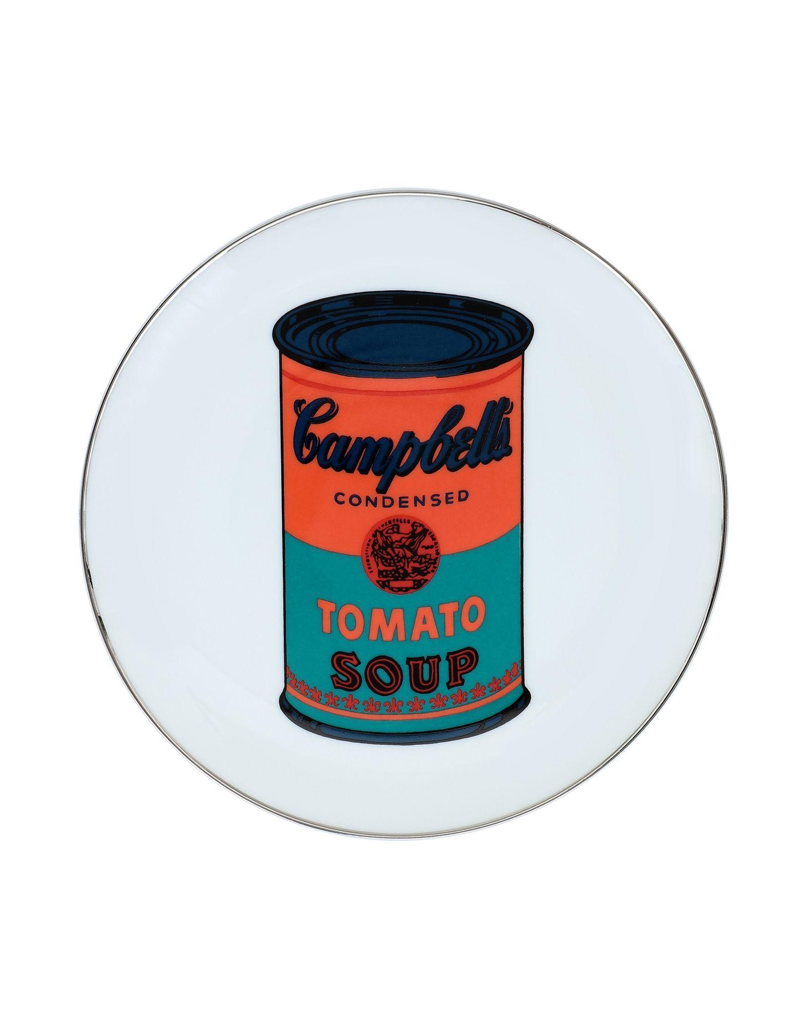 《セール開催中》LIGNE BLANCHE Unisex オーナメンタルプレート ホワイト セラミック 100% Campbell's - Orange/Blue