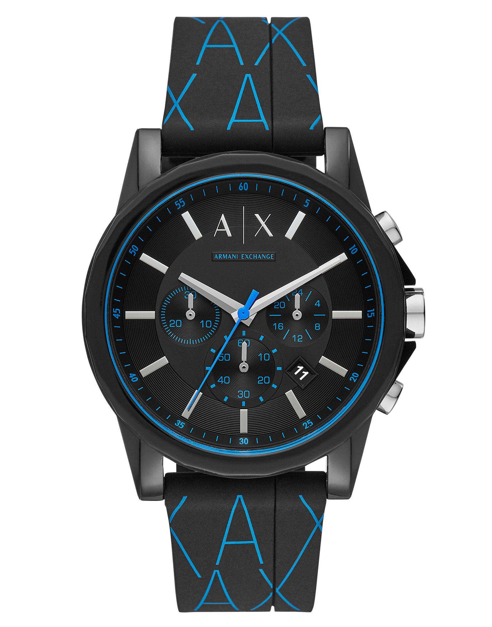《送料無料》ARMANI EXCHANGE メンズ 腕時計 ブラック ステンレススチール / ナイロン / シリコン